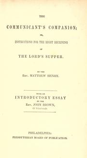 The communicant's companion by Matthew Henry