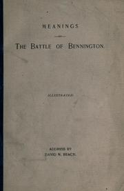 Meaning of the Battle of Bennington by David N. Beach