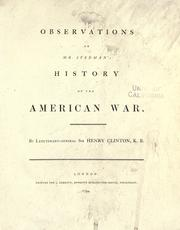 Observations on Mr. Stedman's History of the American war by Clinton, Henry Sir
