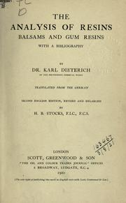 The analysis of resins, balsams, and gum resins by Dieterich, Karl