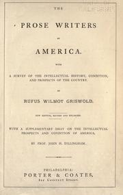 The prose writers of America by Rufus W. Griswold