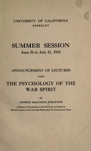 Cover of: Announcement of lectures upon the psychology of the war spirit
