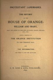 The history of the House of Orange by R. B.
