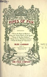Pipes of Pan by Bliss Carman