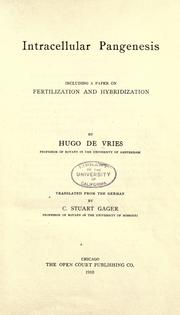 Cover of: Intracellular pangenesis by Vries, Hugo de