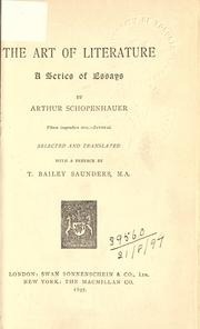 Cover of: The art of literature by Arthur Schopenhauer