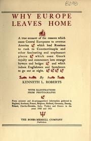 Cover of: Why Europe leaves home by Roberts, Kenneth Lewis
