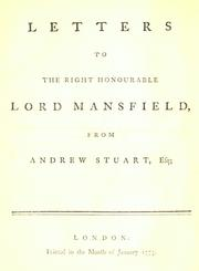 Letters to the Right Honourable Lord Mansfield PDF