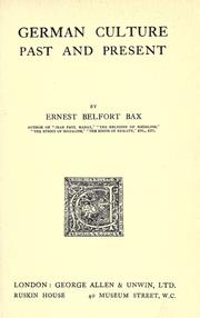 German culture by Ernest Belfort Bax