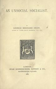 Cover of: An unsocial socialist by George Bernard Shaw