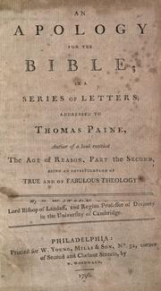 An apology for the Bible by Watson, Richard