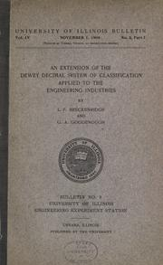 An extension of the Dewey decimal system of classification applied to the engineering industries by L. P. Breckenridge