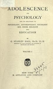 Adolescence by Hall, G. Stanley