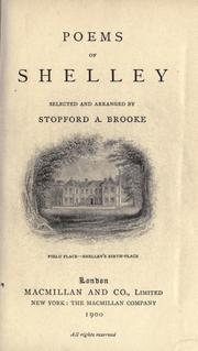Cover of: Poems of Shelley by Percy Bysshe Shelley