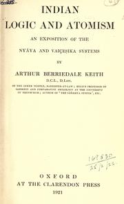 Indian logic and atomism by Arthur Berriedale Keith