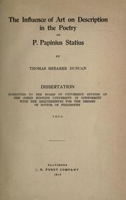 The influence of art on description in the poetry of P. Papinius Statius by Thomas Shearer Duncan