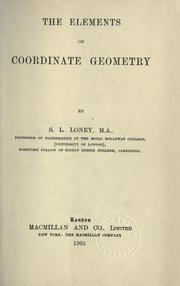 The elements of coordinate geometry by Sidney Luxton Loney