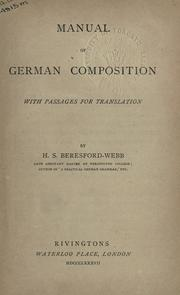 Manual of German composition PDF