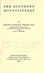 Cover of: The southern mountaineers by Wilson, Samuel Tyndale