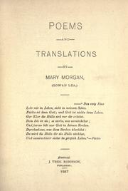 Cover of: Poems and translations by Morgan, Mary
