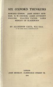 Six Oxford thinkers by Algernon Cecil