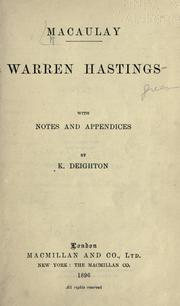 Warren Hastings by Thomas Babington Macaulay