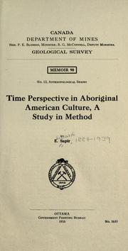 Time perspective in aboriginal American culture by Edward Sapir