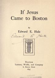 If Jesus came to Boston by Hale, Edward Everett