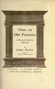 Chats on old furniture by Arthur Hayden
