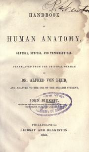 Handbook of human anatomy, general, species and topographical