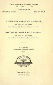 Studies of American plants by Paul Carpenter Standley