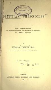 Egyptian chronicles by Palmer, William