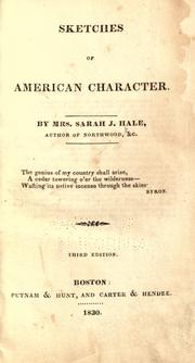 Sketches of American character by Sarah Josepha Buell Hale