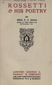 Rossetti & his poetry by Boas, F. S. Mrs.