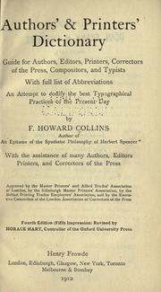 Authors&#39; &amp; printers&#39; dictionary by F. Howard Collins