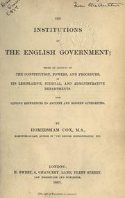 The institutions of the English government PDF