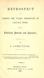 Retrospect of thirty-six years residence in Canada West PDF