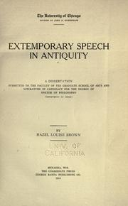 Extemporary speech in antiquity by Hazel Louise Brown