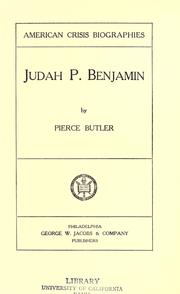 Judah P. Benjamin by Butler, Pierce