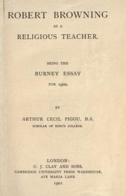 Robert Browning as a religious teacher by A. C. Pigou