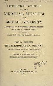 Descriptive catalogue of the Medical Museum of McGill University, arranged on a modified decimal system of museum classification PDF