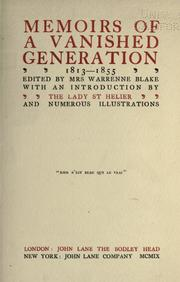 Memoirs of a vanished generation, 1813-1855 PDF