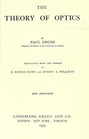 Lehrbuch der Optik by Paul Drude