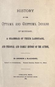 History of the Ottawa and Chippewa Indians of Michigan by Blackbird, Andrew J.