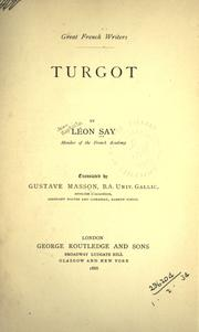 Turgot by Léon Say