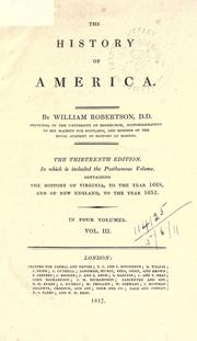 Cover of: The history of America by Robertson, William