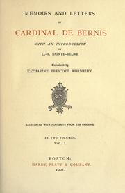 Cover of: Memoirs and letters of Cardinal de Bernis by François-Joachim de Pierre de Bernis