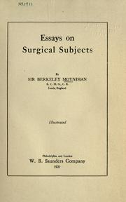 Essays on surgical subjects PDF