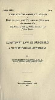 Sumptuary law in Nürnberg by Kent Roberts Greenfield