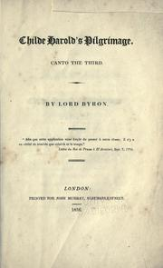 Cover of: Childe Harold's pilgrimage by Lord Byron